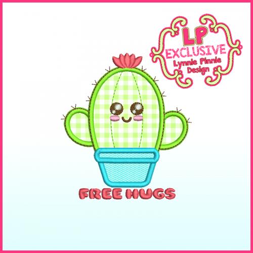 Cutie Cactus FREE HUGS Applique Machine Embroidery Design File 4x4 5x7 6x10