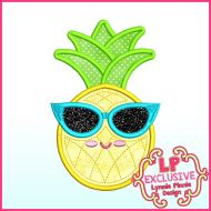 Cutie Pineapple with Sunglasses Applique Machine Embroidery Design File 4x4 5x7 6x10