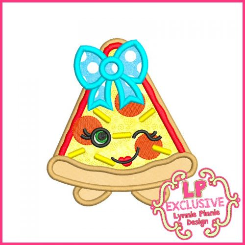 Cutie Pizza Slice with Bow Machine Embroidery Design File 4x4 5x7 6x10