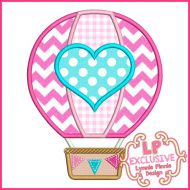 Hot Air Balloon with Heart Applique Machine Embroidery Design File 4x4 5x7 6x10