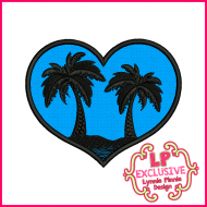Heart with Palm Tree Silhouette Applique Machine Embroidery Design File 4x4 5x7 6x10
