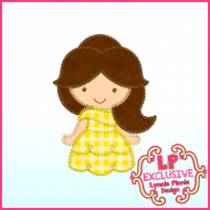 Triple Zig Zag Applique Cutie Yellow Dress Princess Embroidery Design File 4x4 5x7 6x10
