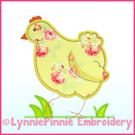Triple Zig Zag Chicken Applique Machine Embroidery Design File 4x4 5x7 6x10