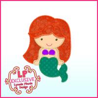 Triple Zig Zag Applique Mermaid Princess Cutie Embroidery Design File 4x4 5x7 6x10