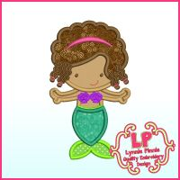 Pretty Mermaid with Braids Applique Machine Embroidery Design File 4x4 5x7 6x10