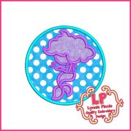 Mermaid Silhouette Circle Applique Embroidery Design File 4x4 5x7 6x10 7x11