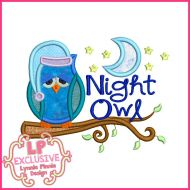 Night Owl Applique Machine Embroidery Design File 4x4 5x7 6x10