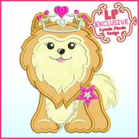 Princess Pomeranian Puppy Dog with Crown Applique Machine Embroidery Design File 4x4 5x7 6x10