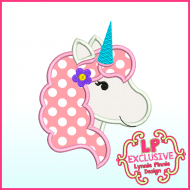 Pretty Unicorn Applique Machine Embroidery Design File 4x4 5x7 6x10
