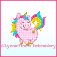 Rainbow Unicorn Applique Machine Embroidery Design 4x4 5x7 6x10 7x11