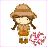 Safari Girl Applique Machine Embroidery Design File 4x4 5x7 6x10
