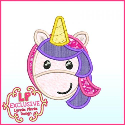Sweet Unicorn Applique Machine Embroidery Design File 4x4 5x7 6x10