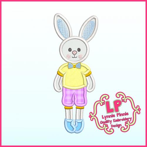 Applique Bunny Boy 1 Machine Embroidery Design File 4x4 5x7 6x10