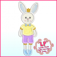 Applique Bunny Prince Machine Embroidery Design File 4x4 5x7 6x10
