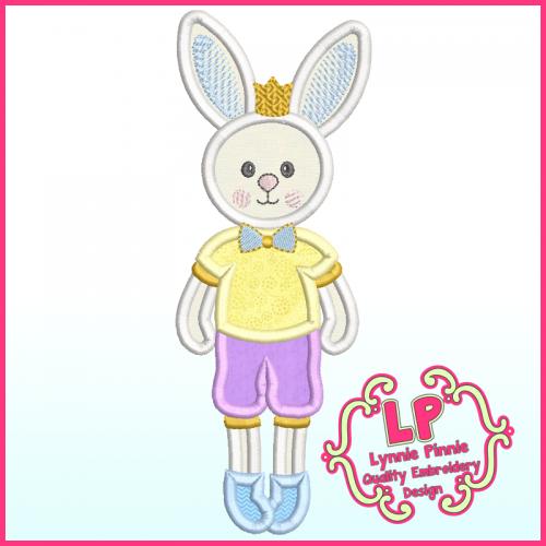 Applique Bunny Prince Machine Embroidery Design File 4x4 5x7 6x10