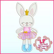 Applique Bunny Princess 1 Machine Embroidery Design File 4x4 5x7 6x10