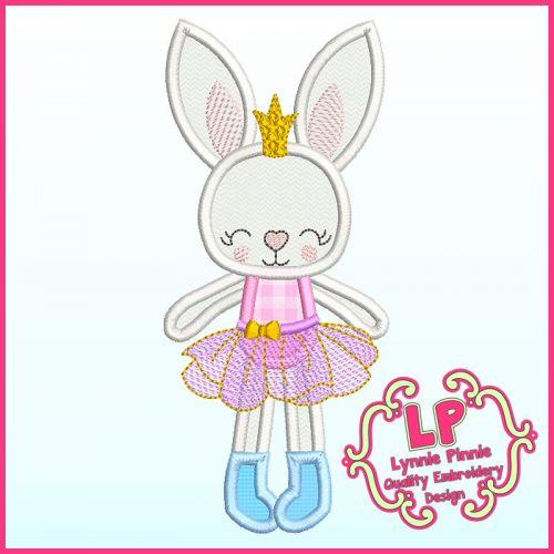 Applique Bunny Princess 1 Machine Embroidery Design File 4x4 5x7 6x10