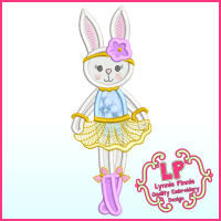 Applique Bunny Princess 2 Machine Embroidery Design File 4x4 5x7 6x10