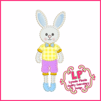 Boy Bunny 1 Applique- Bold Blanket Stitch Machine Embroidery Design File 4x4 5x7 6x10