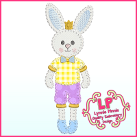 Bunny Prince Applique - Bold Blanket Stitch Machine Embroidery Design File 4x4 5x7 6x10