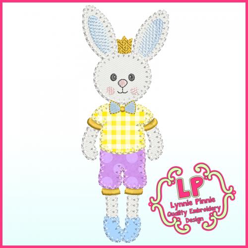 Bunny Prince Applique - Bold Blanket Stitch Machine Embroidery Design File 4x4 5x7 6x10