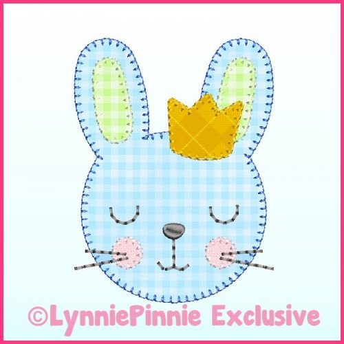 Boy Bunny with Crown Applique - Bold Blanket Stitch Machine Embroidery Design File 4x4 5x7 6x10