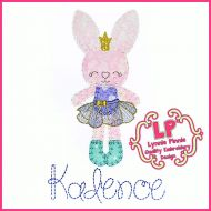 Bunny Princess 1 Applique - Bold Blanket Stitch Machine Embroidery Design File 4x4 5x7 6x10