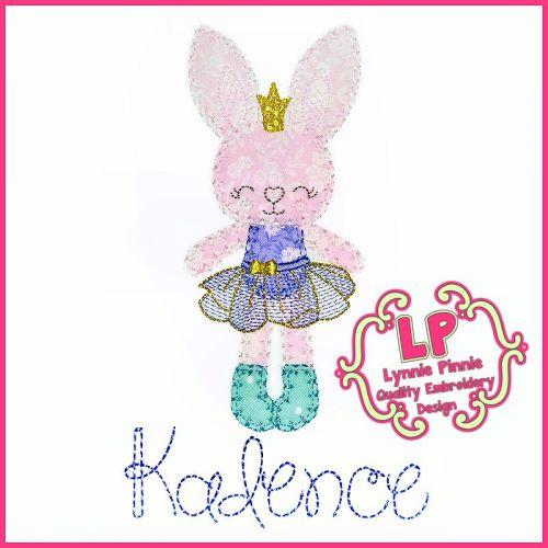 Bunny Princess 1 Applique - Bold Blanket Stitch Machine Embroidery Design File 4x4 5x7 6x10
