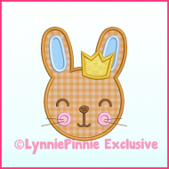 Boy Bunny with Crown Applique Machine Embroidery Design File 4x4 5x7 6x10