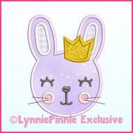 Girl Bunny with Crown Applique Satin Stitch Machine Embroidery Design File 4x4 5x7 6x10