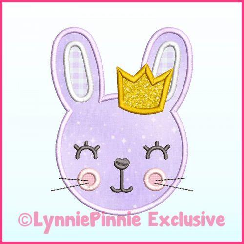 Girl Bunny with Crown Applique Satin Stitch Machine Embroidery Design File 4x4 5x7 6x10