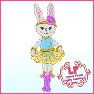 Bunny Princess 2 Applique - Bold Blanket Stitch Machine Embroidery Design File 4x4 5x7 6x10