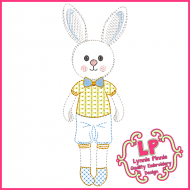 ColorWork Bunny Boy Machine Embroidery Design File 4x4 5x7 6x10