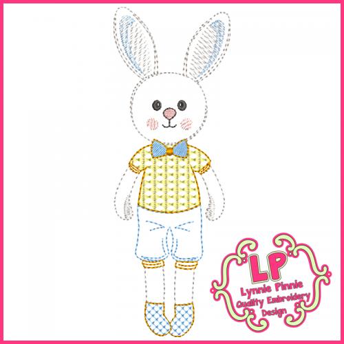 ColorWork Bunny Boy Machine Embroidery Design File 4x4 5x7 6x10