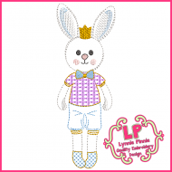 ColorWork Bunny Prince Machine Embroidery Design File 4x4 5x7 6x10