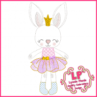 Colorwork Bunny Princess 1 Embroidery Design File 4x4 5x7 6x10