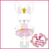 Colorwork Bunny Princess 1 Embroidery Design File 4x4 5x7 6x10
