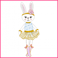 Colorwork Bunny Princess 2 Machine Embroidery Design File 4x4 5x7 6x10