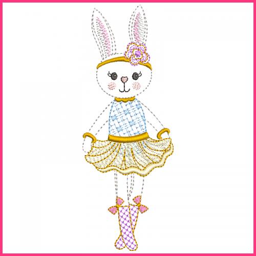 Colorwork Bunny Princess 2 Machine Embroidery Design File 4x4 5x7 6x10