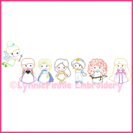 SET of 7 Mini ColorWork Princess Designs Sketch Machine Embroidery Digital Design Files - 3 sizes 4x4