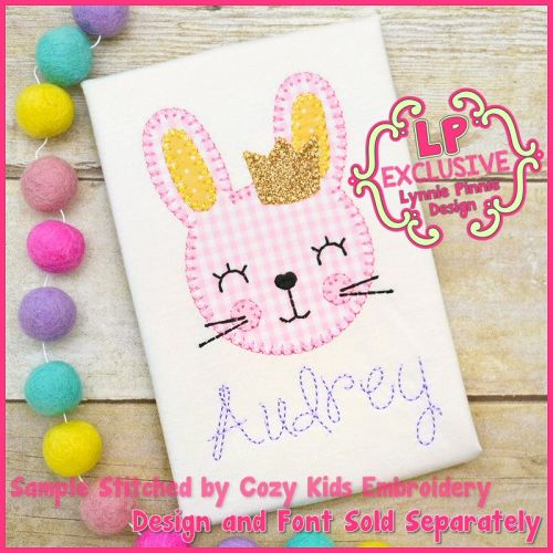 Bunny Girl with Crown Applique - Bold Blanket Stitch Machine Embroidery Design File 4x4 5x7 6x10