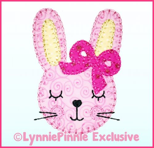 Bunny with Bow Applique - Bold Blanket Stitch Machine Embroidery Design File 4x4 5x7 6x10