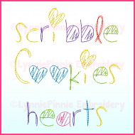 Scribble Hearts Font Triple Sketch DIGITAL Embroidery Machine File -- 3 sizes + BX