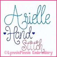 Arielle Script Hand Stitch Style Triple Bean Stitch Font Uppercase & Lowercase Font DIGITAL Embroidery Machine File -- 5 sizes + Native BX Scalable