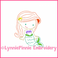 Mermaid Princess Cutie Colorwork Sketch Embroidery Design 4x4 5x7 6x10