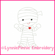 Lil Mummy Colorwork Sketch Embroidery Design 4x4 5x7 6x10