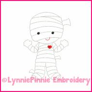 Lil Mummy Colorwork Sketch Embroidery Design 4x4 5x7 6x10