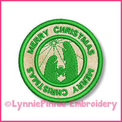 Nativity Scene Circle Icon Applique Embroidery Design 4x4