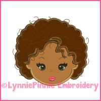Natural Curly Hair Cutie Girl Applique Design 4x4 5x7 6x10 7x11