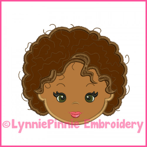 Natural Curly Hair Cutie Girl Applique Design 4x4 5x7 6x10 7x11
